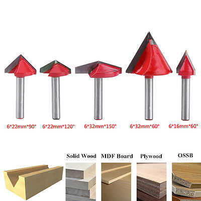 60° 90° 120° 150° 6mm V-Groove Router Bit CNC Woodworking Cutter Tool Durable