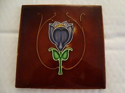 Pretty Art Nouveau raised floral tile  20/112