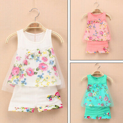 2pcs Newborn Infant Baby Girls Tops T-shirt Pants Shorts Outfits Set Clothes