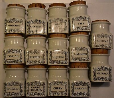 Complete set of 14 different Arabia Finland herb jars by Esteri Tomula