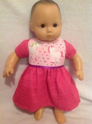 """American Girl doll 18""""/Bitty Baby 15"""" pink unicorn dress clothes outfit"""
