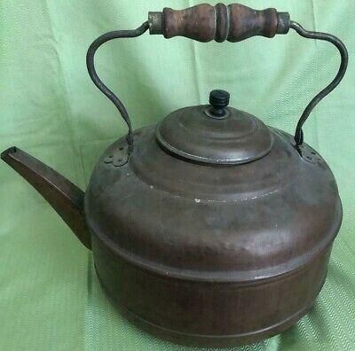 Large Antique Copper Kettle with Wooden Handle