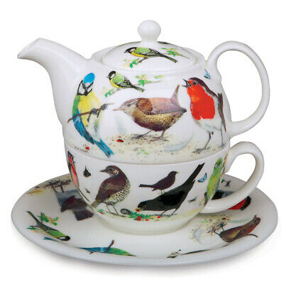 Roy Kirkham Tea for One Set Garden Birds Teapot Cup Saucer Single Individual