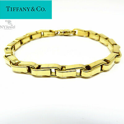 NYJEWEL Tiffany & Co. 18k Yellow Gold Italy 6.5mm wide Mens Heavy Bracelet