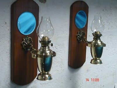PAIR OF VINTAGE MARINE CABIN OIL LAMPS ( will post but please see description)