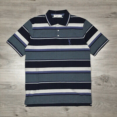 cb8718207c9 Yves Saint Laurent Paris Mens Vintage YSL Pour Homme Striped Polo Shirt  size L