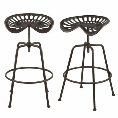 2 X Vintage Tractor Seat/Bar Stool Rustic Cast Iron Industrial Style Adjustable