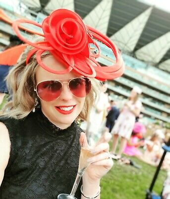 1002f708 Ladies red fascinator hatinator, Royal Ascot races wedding, mother of the  bride