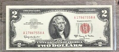 1963 A $2 TWO DOLLAR BILL RED SEAL UNC - US Paper Money Fr - 1514  - Z13