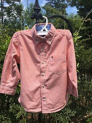 Tommy Hilfiger Toddler Boys 2T Long Sleeve Button Down Shirt Orange FALL
