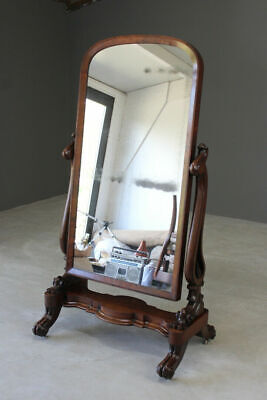 Large Antique Victorian Mahogany Cheval Dressing Full Length Bedroom Mirror