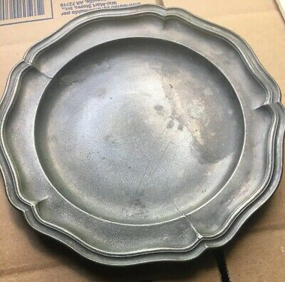 Antique 1700's Pewter Plate From Old New England Estate