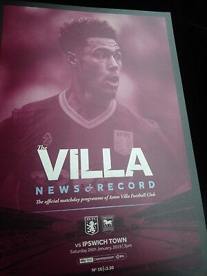 Aston Villa V Ipswich Town Skybet Championship 26Th January 2019 Offical...