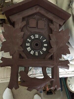 "Vintage Two Bird Musical Black Forest Cuckoo Clock Case Very Good 11"" By 8"""