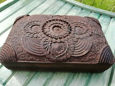 Antique Anglo-Indian Carved Wooden Kashmiri Domed Box Circa 1900