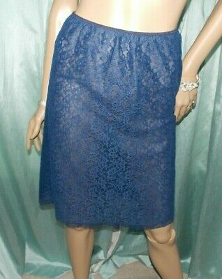 ST MICHAEL 60's Navy Soft Nylon Double Layered All Lace Half Petticoat 12-14 UK