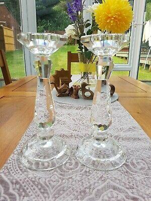 A Pair Of Crystal Glass Candle Sticks Holder