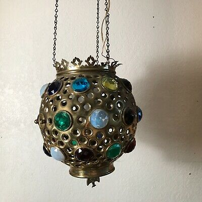Antique brass jeweled hanging electric ceiling light fixture chandelier parlor