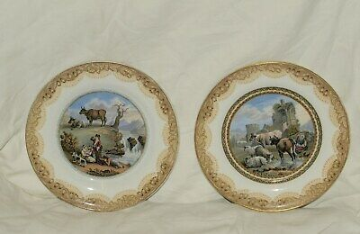 Pair Of Small Prattware Plates  Decorated With Rural Landscapes