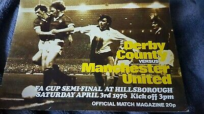 Derby county v Manchester United FA cup semi final 1976 programme