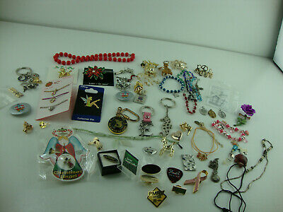 Junk Drawer Lot Jewelry, Knives Buttons, Pins, Crucifix, Key Chains