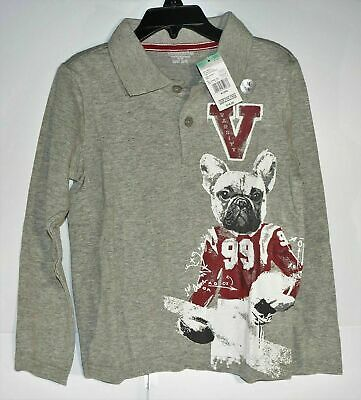 New Toughskins Juvi Boys Large 7 Long Sleeve Graphic Polo Grey w/ Dog