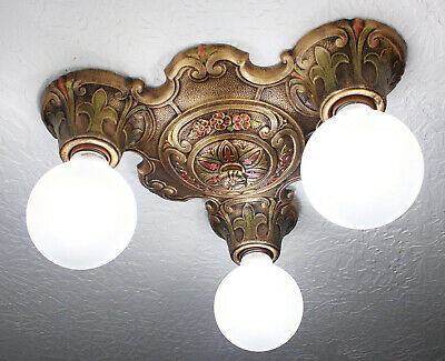 30's ART DECO Antique Vintage Ceiling Light FIxture CHANDELIER~ 2 AVAILABLE