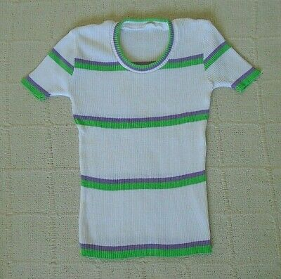 7Vintage Stretch Skinny Rib Top - Age 12   - Lilac/Green Stripe - Cotton - New