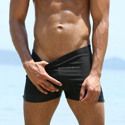 Mens Swimwear Swim Trunks Beach Shorts Bathing Suit Quick-dry Padding Square Leg