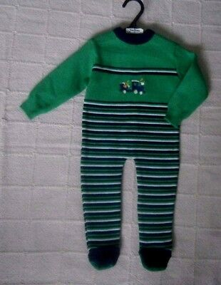 Vintage Baby All-in-one Suit - 3-9 months Approx - Green/Navy - Train Motif- New