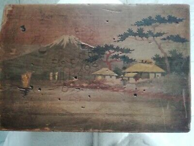 Rare antique Mount Fuji inlay box with secret drawer release catch