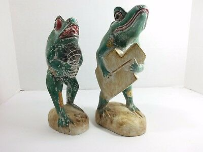 "Vintage Hand-painted Carved Musician Frogs Wood Figurines (10""H) unmarked"