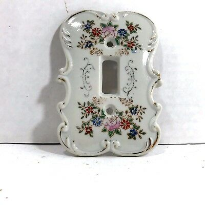 Vintage Porcelain Switch Wall Plate w  Painted Floral (Crossed Arrow Mark)