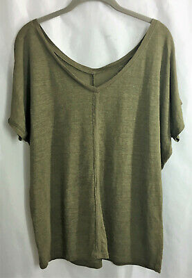 36474ba0ca4182 NEW EILEEN FISHER 100% Linen Short Sleeve Double V Neck Top Sweater Gold  Leaf XS