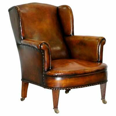 Rare Victorian Hampton & Son's Stamped Wingback Hand Dyed Brown Leather Armchair
