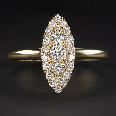 Diamond Navette Ring 1/2 Carat Vintage Engagement Antique Marquise Gold Natural