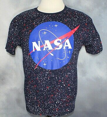 3d285439ce NASA Buzz Aldrin Blue Speckled Space Graphic T Shirt Men's Size Lg Altered  Short