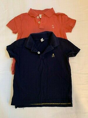 Lot of Two Boy's Crewcuts Pique Cotton Polo Shirts Size 2