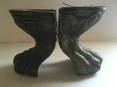 "Antique Vintage Cast Iron Pair Of 5.25"" Lion Paws Decorative Corner Foot Ends"