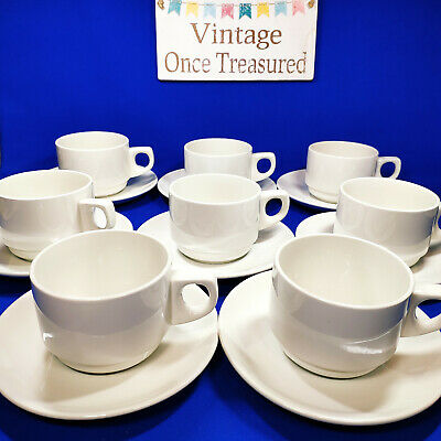 Wood & Sons - 8 x White Tea or Coffee Cups & Saucers - Vintage VGC