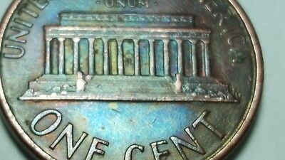 1988 D Lincoln Memorial Cent Penny Beautiful RAINBOW TONED Obverse & Reverse