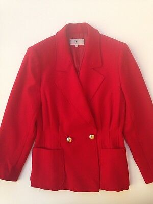 Beautiful red Valentino Miss V wool vintage blazer with gold V buttons tg. 44