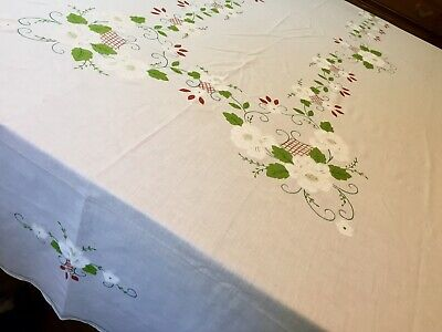 """100"""" X 70"""", Large Ivory Tablecloth With White Open Roses, Green Vines & Leaves."""