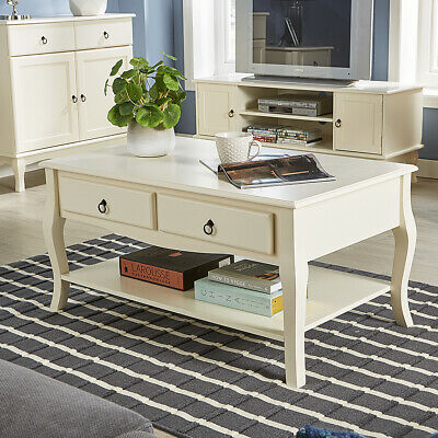 Cream Coffee Table 2 Drawer Shelf Occasional French Inspired Sculpted Curved Leg