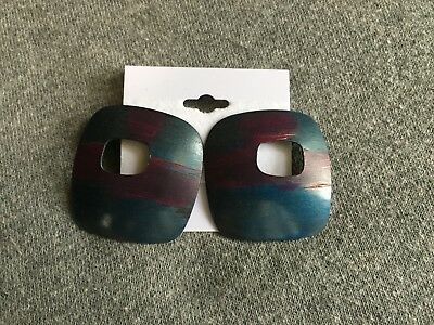 Women's Square Blue & Purple Pierced Art Deco Earrings