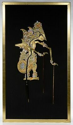 Indonesian Wayang Leather Shadow Puppet. Pierced and painted articulated leather