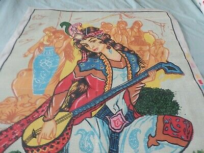 "Enormous Tapestry Canvas Eastern woman with Sitar 30"" x 42"" NO THREADS NEW"