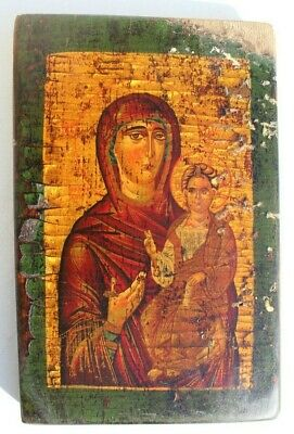 Antique 17th Century Russian Icon Mother of God Embroidered Wood Panel