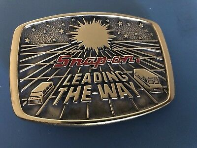 Vtg Solid Brass SNAP-ON TOOLS Belt Buckle 1988 Limited Edition Leading The Way