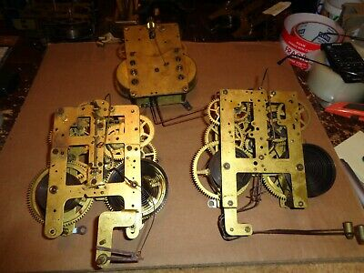 Lot of 3-Antique American-8 Day-Clock Movements-Ca.1920-Parts/Restore-#T527